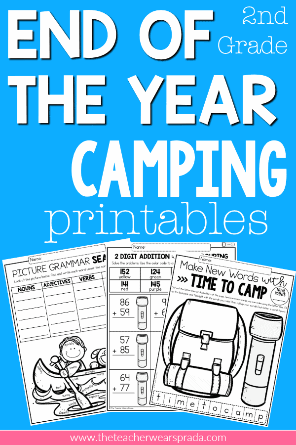 It's the end of the school year and we are all TEACHER TIRED, so here's a 2nd grade end of the year camping themed unit jam packed with resources, activities, centers, print and go printables, cut and paste printables, color code printables that will keep your students busy and engaged until the end of the year! #2ndgrade #endoftheyear #campingactivities