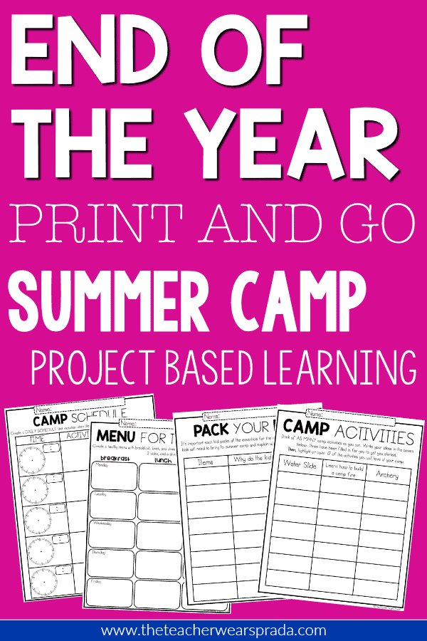 Simple PRINT AND GO end of the year project based learning activities for 2nd grade and 3rd grade. You can print and copy these 2nd grade worksheets and 3rd grade worksheets to have your students complete engaging grammar, math and project based learning activities.