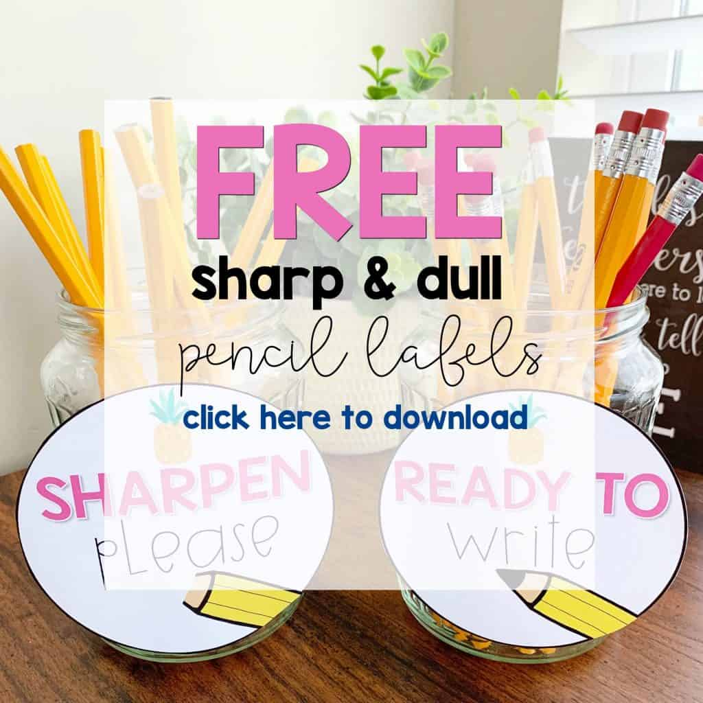 free sharpen please and ready to write classroom supply labels, free dull and sharp labels