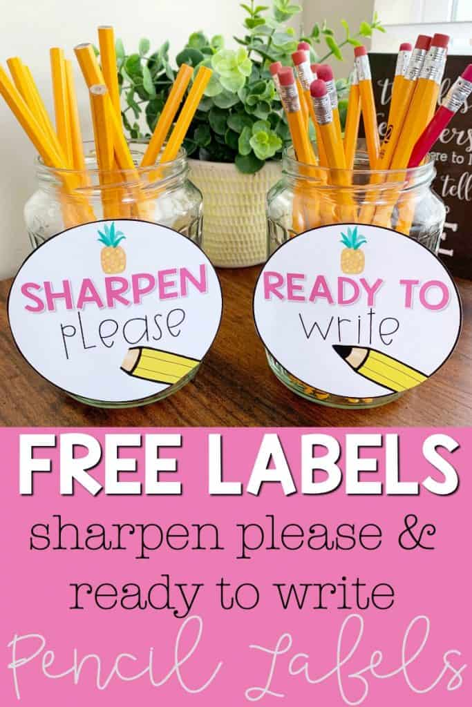 """Check out this simple classroom management tip you can use in your elementary classroom. Download these free classroom supply labels to help your classroom run more smoothly. These sharp and dull pencil labels are free to download. Click here to grab the free """"sharpen please"""" and """"ready to write"""" pencil labels for your classroom. #2ndgradestuff #3rdgradeideas #classroomorganization #classroommanagement"""