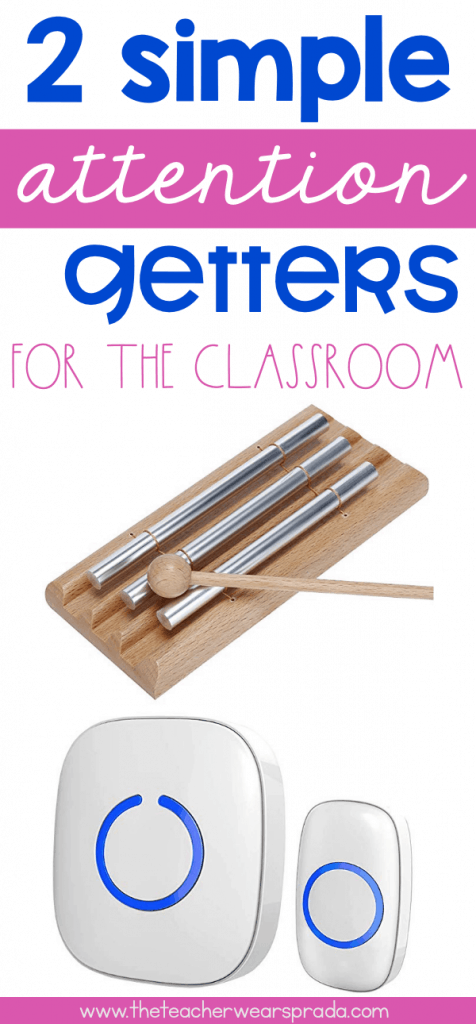 How do you grab the attention of your students during math stations, writing workshop, group projects, guided reading, etc.? I use these 2 simple attention getters, the classroom doorbell and chime, to quickly and easily grab the attention of my students, and still promote a calm classroom. This is one of classroom management tips! Click here to read this blog post about these two attention getters for kids! #classroommanagement #firstyearteacher